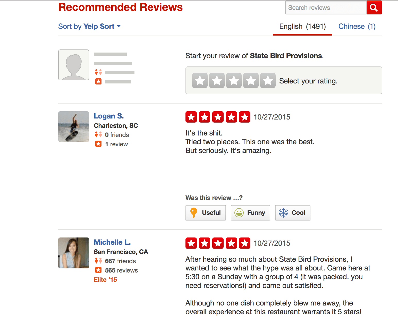 Restaurant reviews yelp - Yelp Recommended Reviews For State Bird Provisions