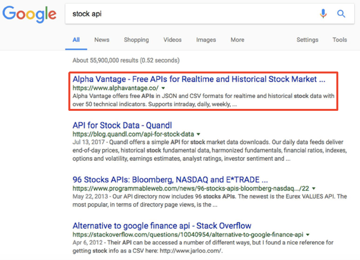 The Alpha Vantage Financial Data Api Service Achieved No 1 Organic Search Results On Google When Yahoo Finance Was Discontinued After Verizon